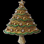 SALE Eisenberg Ice Enameled and Jeweled Rhinestone Brooch in Xmas tree design.