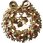 SALE Christmas Wreath With Dangling Bells, Jewels and Berry Balls Pin