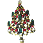 Hollycraft Christmas Tree Pin With Jeweled Candles