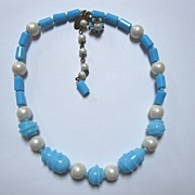 SALE Miriam Haskell pearl and Art Glass Necklace
