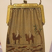 SALE Camel Scenic Figural Enameled Mesh Purse by Whiting And Davis