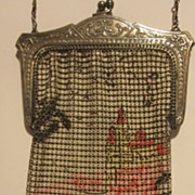 SALE Castle scenic enameled mesh purse by Whiting and Davis