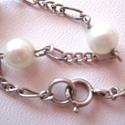 SALE Sterling Pearl Necklace