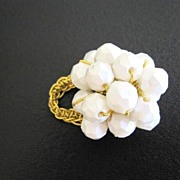 SALE White Bead Cluster Ring, Possibly Designer Piece