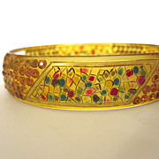 SALE 1920s Rare Mosaic Hand Painted Jeweled Celluloid Bracelet