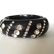 SALE Patterned Black Rhinestone Clamper Bracelet