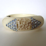 SALE Carved Hinged Bracelet with Blue Diamond Rhinestones