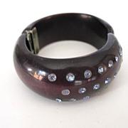 SALE Black Hinged Front Opening Jeweled Bracelet