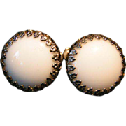 SALE Miriam Haskell White Cabochon screw back Earrings