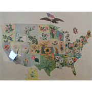 SOLD 1911 Our National Bouquet historical map poster
