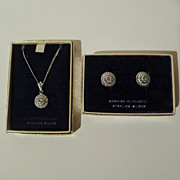 SALE MARCASITE and Sterling Matching 1950s Pendant, Chain  & Earrings