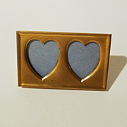 """""""POSTAGE STAMP"""" Brass Frame w/ 2 Heart-Shaped Openings"""