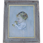 Oil Painting of Girl and Chick after Maud Fangel ca 1930s