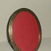 "Oval Brass Vintage Picture Frame with Engraved Design 8 3/4"" high"