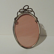 Oval Silverplate Frame with BOW circa 1900