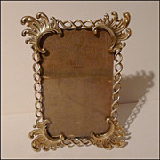 "Unusual Antique English Twisted Brass & Scrollwork Frame 8 1/4"" Tall"
