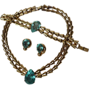 SALE STERLING Vermeil Necklace Bracelet Earrings Blue Stones  Vintage