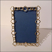 """SOLD English Brass RING Frame Unusual Pattern 7 7/8"""" Tall ca. 1890s"""