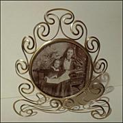 "SOLD Antique  ART NOUVEAU  Brass ""Whiplash"" Frame 8 1/4"" Tall"