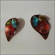 "Vintage Handmade Enamel Clip Earrings with Colored ""Stones'"
