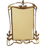 """English ART NOUVEAU Brass """"Whiplash"""" Picture Frame w/Leaves"""