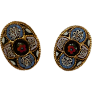 SALE Oval MOSAIC Vintage Clip Earrings Circa 1970s