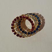 SALE RHINESTONE Red White & Blue Retro  Pin