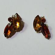 SALE Marquise RHINESTONE Retro Clip Earrings 1940s
