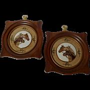2 EQUESTRIAN Porcelain Enamel Framed Horse Plaques