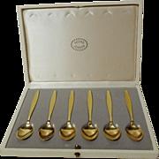 6 GEORG JENSEN Sterling/Vermeil Enamel Spoons in Box