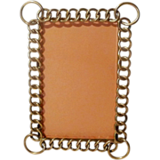 """SOLD ANTIQUE English Brass Ring Frame 8 1/2"""" Tall Beveled Glass"""