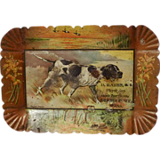 """TOLE Dog Tip Tray """"Young Jingo"""" Physician Advertising ca. 1900"""