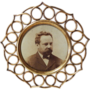 SOLD Round Brass RING Picture Frame ca. 1890s