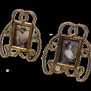 "SOLD ""Postage Stamp"" Miniature ART NOUVEAU Whiplash Picture Frames PAIR"