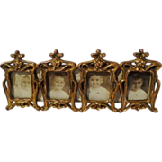 """ART NOUVEAU 4-Opening """"Postage Stamp"""" Miniature Frame"""