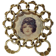 SOLD Round Brass Over-sized RING Frame 1890s