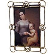 """SOLD Brass Knot and Link ANTIQUE Picture Frame 8 1/2"""""""