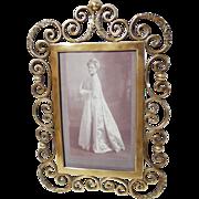 """Ornate 1890s Brass Curlicue Scrolls  10"""" Picture Frame"""