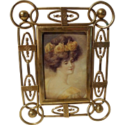 SOLD ENGLISH Brass Ring and Ball Patterned Antique Picture Frame