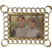 SOLD Thick Brass Ring HORIZONTAL/VERTICAL DRGM Antique Picture Frame