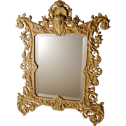 """BRADLEY & HUBBARD Painted Iron Frame with Mirror 16.5"""" Tall"""