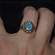 SALE Victorian Black Opal ring Mizpah
