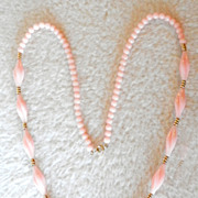 SALE TRIFARI Twisted & Round Bead Faux Angel Skin Coral Lucite Necklace