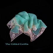 Vintage 1920s Handkerchief, Hand Sewn Silk Chiffon Crêpe with Inset Silk Lace