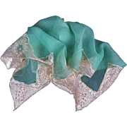 Vintage 1920s Handkerchief, Hand Sewn Silk Chiffon Crêpe with Inset Silk Lace