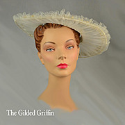 Vintage 1950s Hat, Silk Tulle and Linen Lily of the Valley Flowers