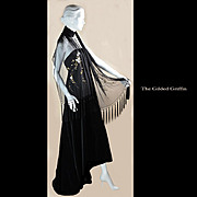 Rare Remarkable circa 1950 Hand-Beaded Silk Stole, Shawl or Scarf