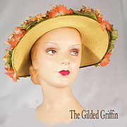 Vintage 1950s Straw Hat with Magnificent Silk Flowers