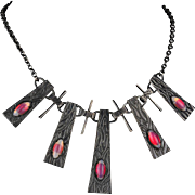 Rare Arts and Crafts Hammered Bronze Necklace, Circa 1925