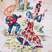 Vintage 1940s Carmen Miranda Tea Towel